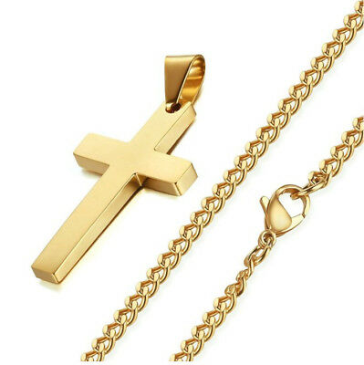 Mens Gold Silver Chains Cuban Jesus Cross Pendant Stainless Steel Necklace Link