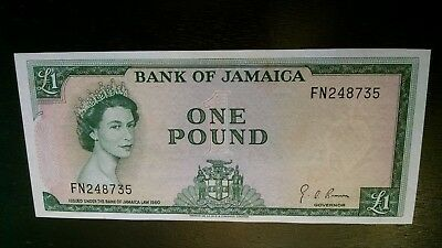 Jamaica Bank Of Jamaica 1 Pound 1960 (1964) Unc.  Banknote -