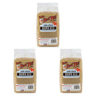 3X New Bob's Red Mill Long Grain Brown Rice Low Fat Dietary Fiber Protein Lunch