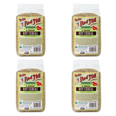 4X Bob's Red Mill Organic Whole Grain Right Stuff 6 Grain Hot Cereal Flaxseed