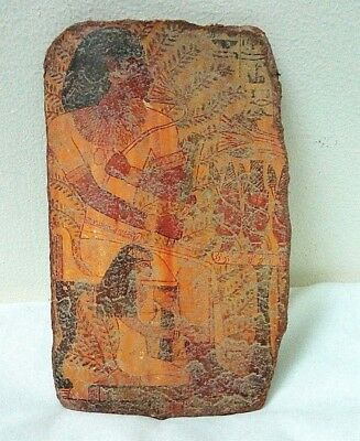 RARE ANCIENT EGYPTIAN ANTIQUE POTTERY FRAGMENT Harvest Scene Sennedjem Tomb BC