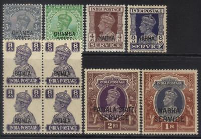 Indian Convention States Small Kgv-Kgvi Mh Selection Cat £41+