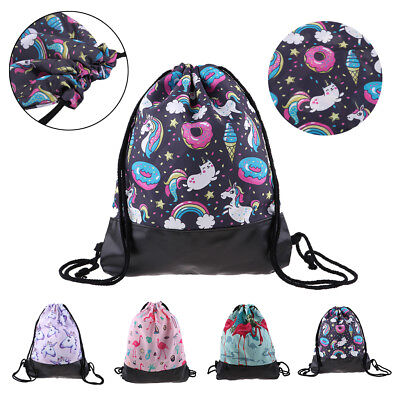 Unicorn Drawstring Backpack Princess Girl Swim Kids Shoes Party Bag Backpack