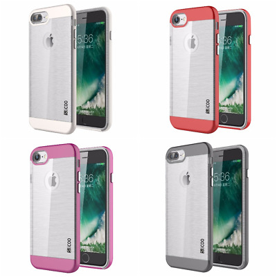 NEW iPhone 8 7/7 Plus Case Brushed Metal Dual Layer Armor Ultra Thin Tough Cover