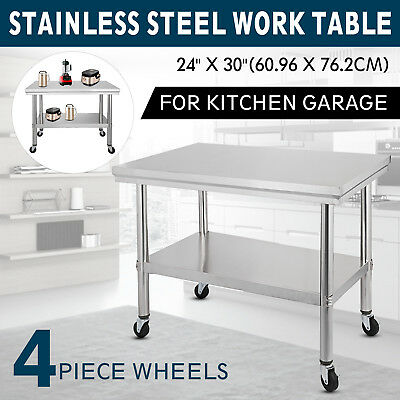 30x24 Kitchen Steel Work Table 4 Casters Prep Tables Utility Station 2 Tier