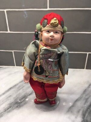 ANTIQUE Composition CHINESE Boy Doll Movable Arms Legs Original Costume 1920s