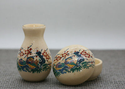 Vintage Matching Hand Decorated Japanese Porcelain Seal Box & Water Jar c1960s