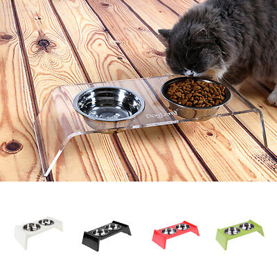 Pet Dog Feeding Station with 2 Stainless Steel Bowls Elevated Food Water Storage