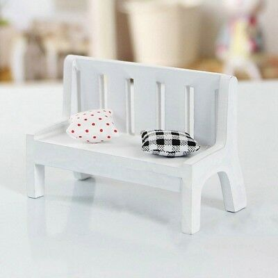 Fairy Garden Doll House Furniture Wooden Bench with Pillow Office Cafe DIY Decor