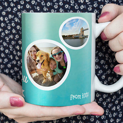 MUG PHOTO COLLAGE Family Design PERSONALISED Custom YOUR Many IMAGE TEXT Tea Cup