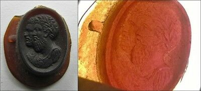 +++ 19Th Century Jugate Busts Of Romans/greeks French Amber Glass Intaglio +++