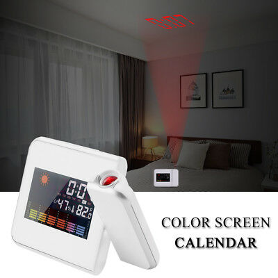 LCD Digital Colors Screen Weather Snooze Alarm Projection Clock LED Back-light