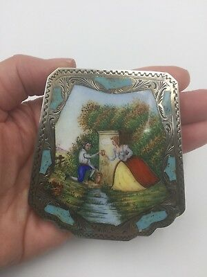 Vintage Italian 800 Silver Enamel Compact w/ Scene of Couple Courting