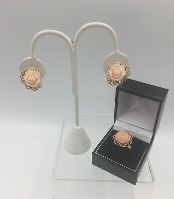 Vintage ITALY Carved Genuine Blush Coral ROSE 14K Ring & 14K Omega Back Earrings