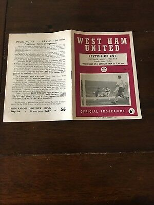 WEST HAM v LEYTON ORIENT FA CUP  FOURTH RD  REPLAY 1963-64