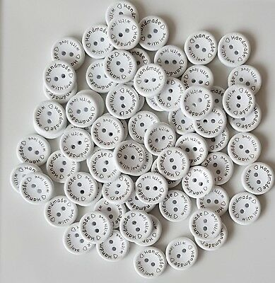 WOODEN BUTTONS 2 HOLE MADE WITH LOVE SEWING BUTTONS SCRAPBOOKING CARD CRAFTS