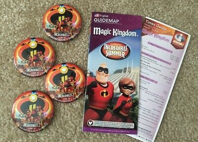 Disney Parks Pixar Incredibles 2 Set Of 4 Buttons Park Map & Time Guide 2018