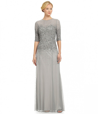Adrianna Papell Silver Mist Embellished S/S Illusion Mother Bride Groom Dress