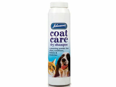Johnsons COAT CARE DRY SHAMPOO Dog Cat Dries Conditions Deodorises Repairs