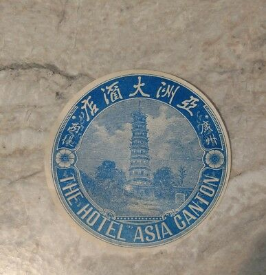 Vintage 1930's  Original Luggage Label The Hotel Asia Canton Round