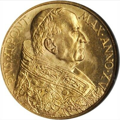Vatican City  1936  100 Lire Gold Coin, Choice Uncirculated, Certified Ngc Ms-64