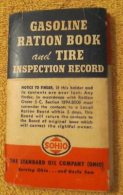 Sohio Gas Station WW 2 Gasoline Ration Book With Ration Tickets