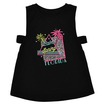 LA REDOUTE GIRLS PRINTED VEST TOP BLACK AGE 10 YEARS NEW (ref 525)