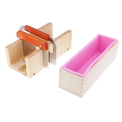 Silicone Soap Mold Cutter Wooden Box DIY Toast Loaf Baking Cake Molds Cutter