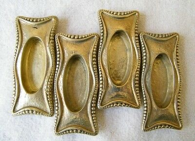 Set of 4 Vintage Brass Window Sash Pocket Door Recessed Finger Pull Handles