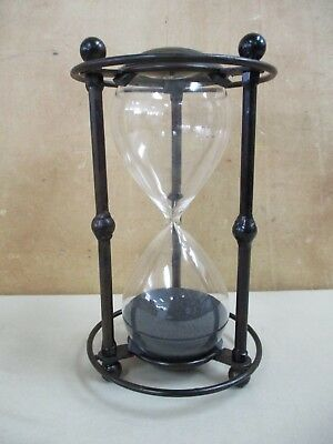 """Metal & Glass Hour Glass Metal Stand Black Sand In Glass Hour Glass 9.5"""" Height"""