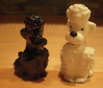 Vintage 1950's Goebel French Poodle Salt & Pepper Shakers : Signed with Stoppers
