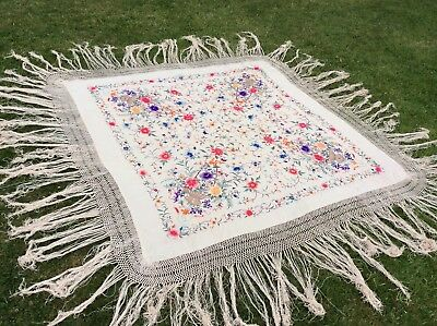 Beautiful Chinese Antique 19th C Large Hand Embroidered Silk Piano Shawl