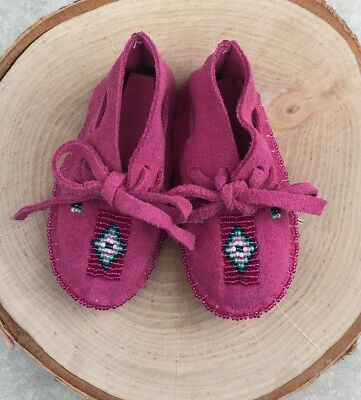 Native American Indian Moccasins Beaded Baby Soft Shoes Leather Girl Infant-Pink