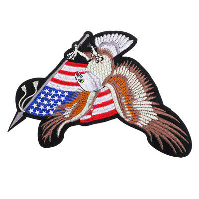 USA Bald Eagle Flag Embroidered Patch Sew On Coat Clothes DIY Applique Badge