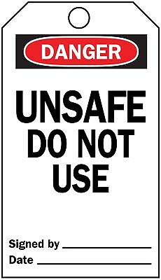"Brady Economy Polyester, Unsafe Do Not Use Danger Tag, 5-3/4"" Height, 3"" Width -"