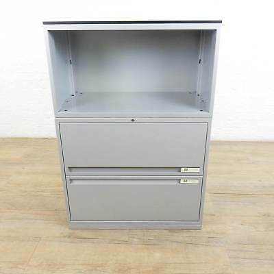 Grey Two Drawer Cabinet (With Wooden Top) office filing draws cupboard metal
