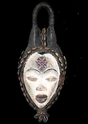 Outstanding  Tribal Punu Okuyi  Mask  With Beads and Cowries.   -- Gabon