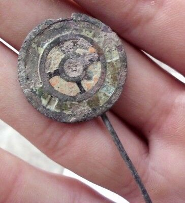 Ancient Celtic Enameled Bronze Hair - Dress Pin - 200/100 Bc - Rare