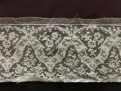 """Stunning design Vintage French lace on silk tulle 115"""" by 4 1/2"""""""