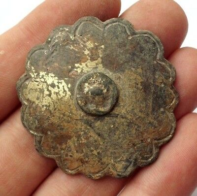 Intact Ancient Celtic Gilded Bronze Solar Shield Decoration Phalera - 400 Bc