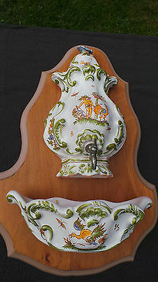 Moustiers Ceramic Fountain Lavabo Ceramic Tank Lid Bowl Fully Marked Moustiers