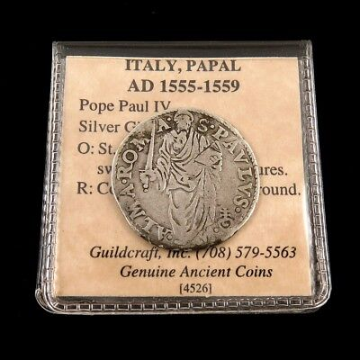 1555-1559 A.D. Italy Pope Paul IV Silver Giulio Papal Coin