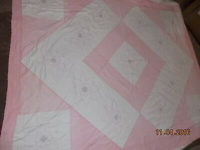 Vintage HAND SEWN Lightweight QUILT with Handmade Cross Stitched Designs