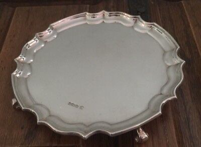 Solid Silver Four Footed Card Tray Sheffield 1921.