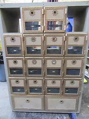 VINTAGE  WOOD Post Office Cabinet/Unit 16 LARGE Brass Doors box boxes  NO LOCKS