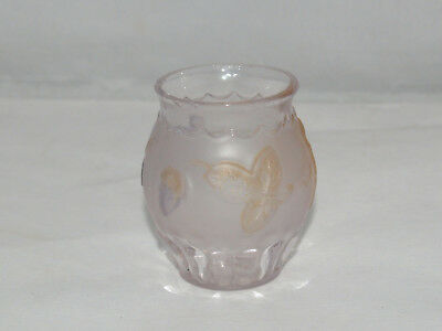 Antique Victorian Eapg Flower And Pleat Clematis Toothpick Holder Frosted Satin