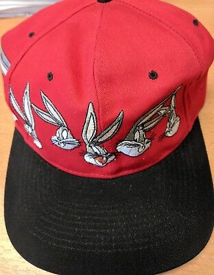 Vintage 1994 Bugs Bunny Looney Tunes Embroidered Red Black Snapback Hat