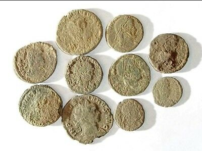 10 ANCIENT ROMAN COINS AE3 - Uncleaned and As Found! - Unique Lot 15425