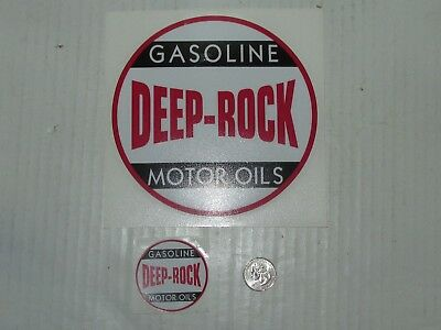 Two Deep Rock Gasoline and  Motor Oils Round Decals