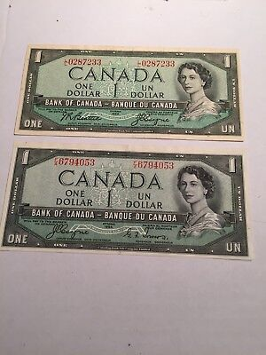 Set Of Canada Bank Notes 1954 One Dollar Devil's Face And Regular.